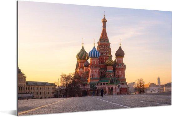Vooraanzicht van de Kathedraal van de Voorbede van de Moeder Gods in Rusland Aluminium 120x80 cm - Foto print op Aluminium (metaal wanddecoratie)