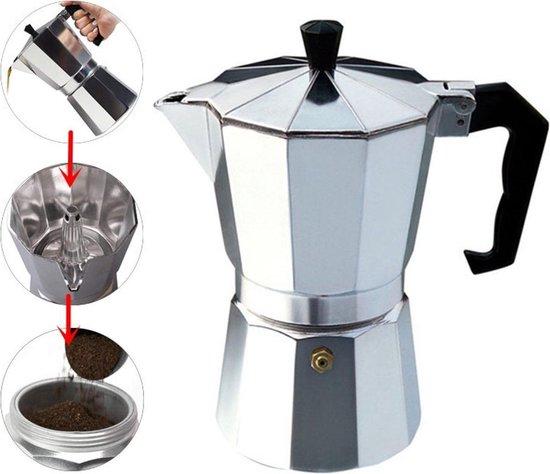 XL Percolator 9 Kops - Mokkapot Coffee Espresso Maker - Italiaanse Koffiepot Moka Express Pot - 450ml - Zilver Kleurig