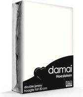 Damai - Hoeslaken (tot 25 cm) - Double Jersey - 80/90x200/210/220 - 100x200 cm - Ivory
