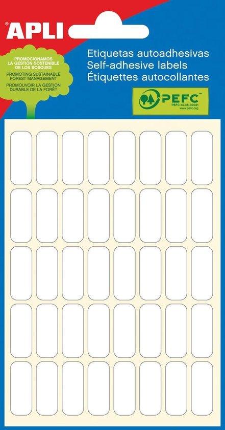 Afbeelding van Apli witte etiketten ft 8 x 20 mm (b x h), 240 stuks, 40 per blad (2668)