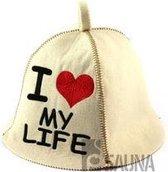 "saunamuts ""I LOVE My Life"" polyester vilt A-231"