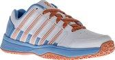 K-Swiss Court Impact Omni Leather  Tennisschoenen - Maat 37.5 - Unisex - wit/blauw/oranje