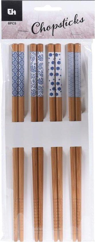 4 Paar eetstokjes blauw/witte print - Chopsticks/eetstokjes voor sushi