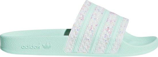 bol.com | adidas Slippers - Maat 37 - Vrouwen - wit/mintgroen