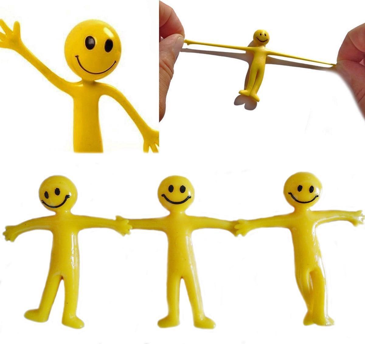 10 stuks uitrekbaar verschillende smiley poppetje (5cm), speelgoed kinderen