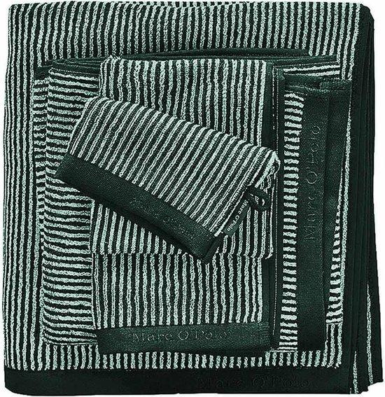 Marc O'Polo Timeless Tone Stripe Pine Green & Off White-6 x Washandjes (16 x 22 cm)