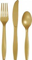 Plastic bestek goud kleur 48-delig - wegwerp bestek messen/vorken/lepels