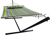 Hangmat met Standaard 2 Persoons / 200kg, 190 * 140, afneembaar kussen, weerbestendig UV-bestendig (blauw / groen) VITA5