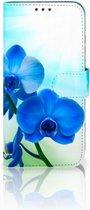 Huawei P Smart 2019 Bookcase Hoesje Design Orchidee Blauw