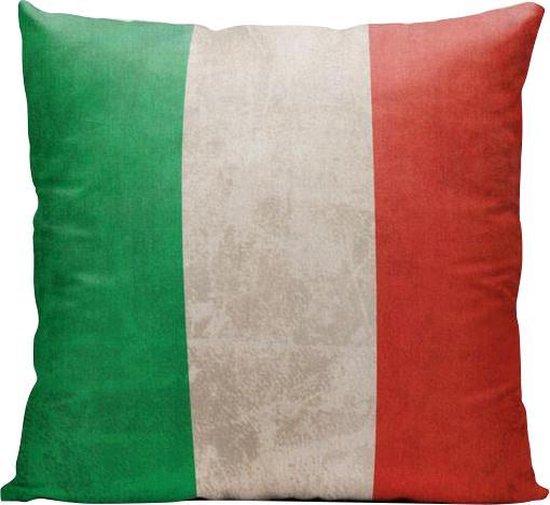Italiaanse Vlag (Italie) - Sierkussen - 40 x 40 cm - Reizen / Vakantie - Reisliefhebbers - Voor op de bank/bed