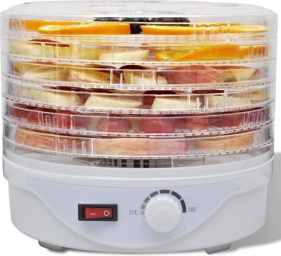vidaXL Voedseldroger met 6 stapelbare lades (rond)