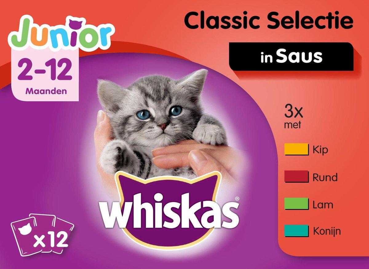 Bol Com Whiskas Junior Kitten Maaltijdzakjes Vleesselectie In Saus Kitttenvoer 48 X 100 G
