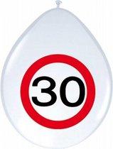8x stuks Ballonnen 30 jaar verkeersbord versiering