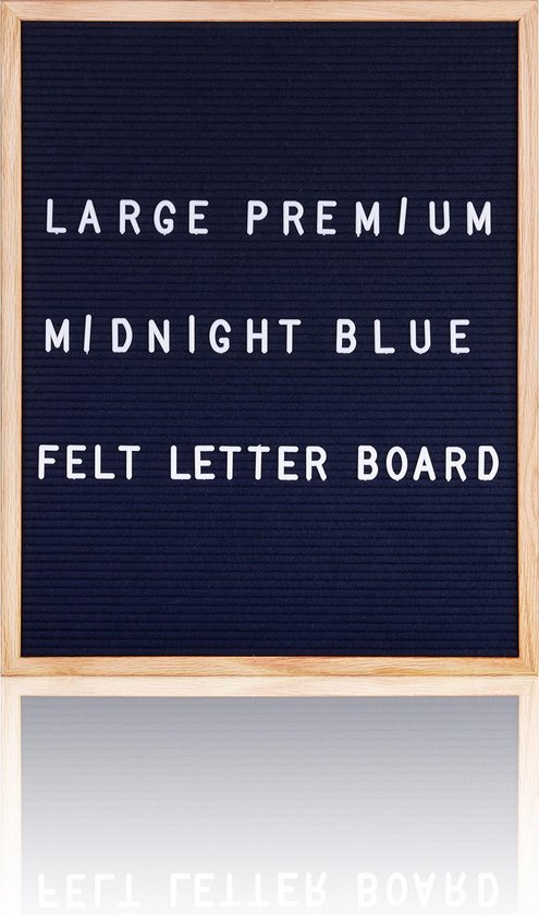 Letterbord XL 40 x 50 cm. - Donkerblauw vilt - Inclusief 350 witte letters & Symbolen - Frame eikenhout