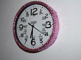 Leer klokkijken-leerzame kinder klok- glitter wandklok  roze/wit