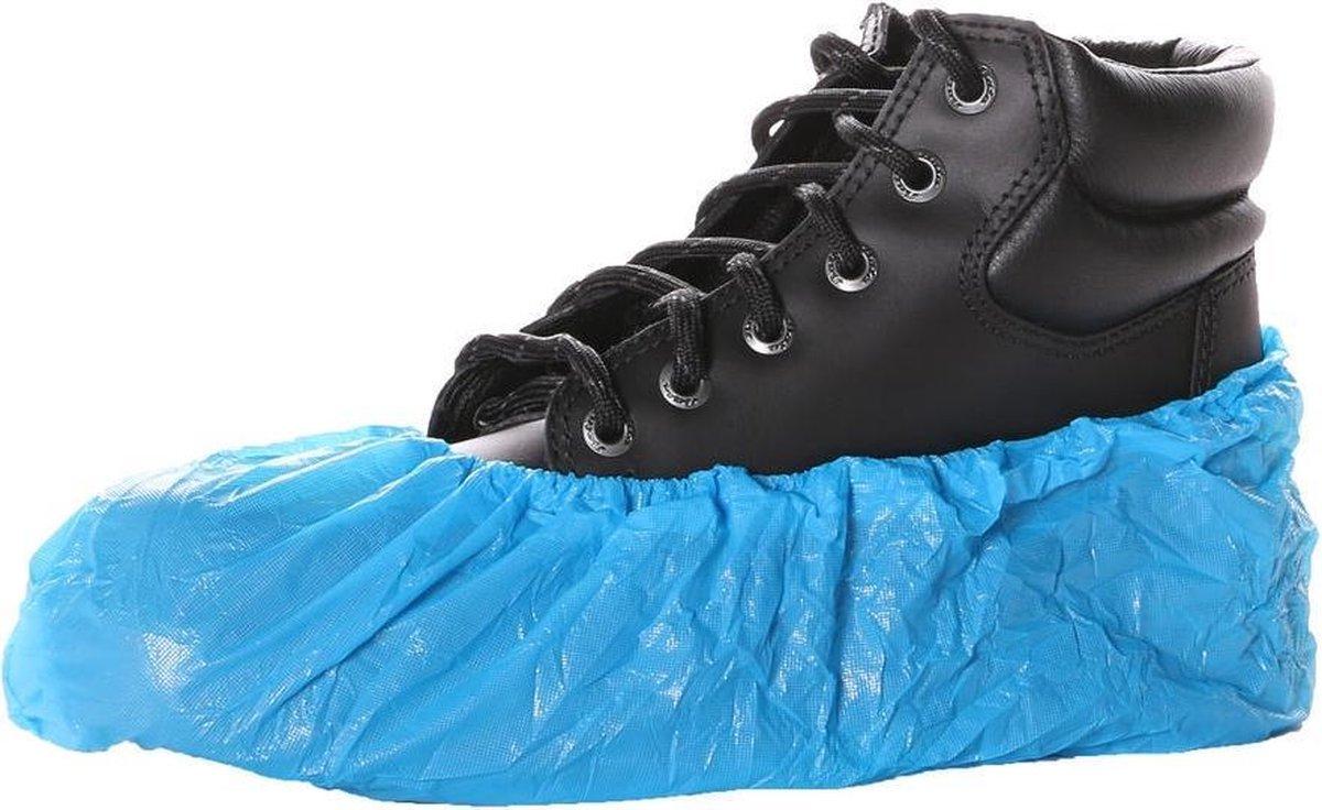 Wegwerp overschoen polyethyleen 55 mu blauw - zak 100 stuks