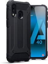Samsung Galaxy A40 Hoesje - Anti Shock Hybrid Armor Backcover - Zwart