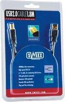 Sweex USB 2.0 Cable AM/BM 1.8M Gold USB-kabel 1,8 m