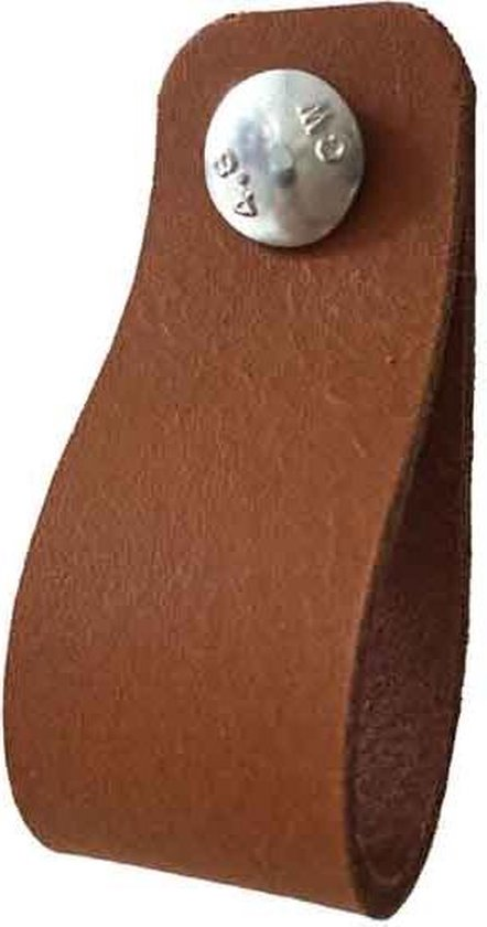 Leren lus Cognac 2,5x14cm = 6,5cm luslengte