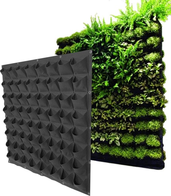 Verticale tuin / plantenzakken voor 64 planten – hangende plantenbak 100 cm x 100 cm
