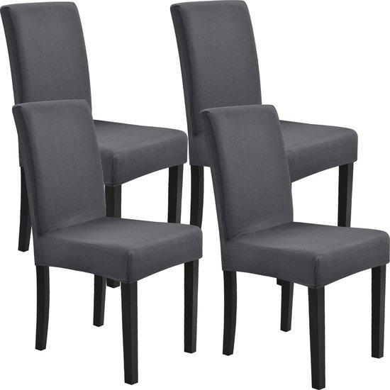 Stoelhoes set van 4 hoes voor stoelen stretch donkergrijs