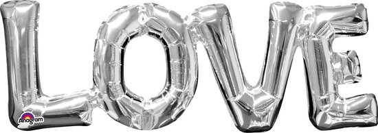 Folie Ballon Love Zilver 63cm