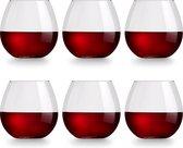 Libbey Wijnglas Cami Rood - 590 ml / 59 cl - 6 stuks - vaatwasserbestendig - geen voetje - zonder steel - modern trendy