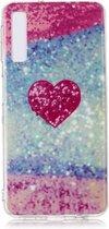 Let op type!! Voor Galaxy A7 gekleurde tekening patroon IMD vakmanschap zachte TPU beschermhoes (rood hart)