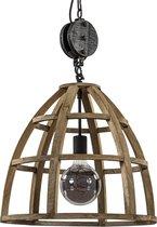 Brilliant Landelijke Hanglamp Hout/ Zwart Met Katrol