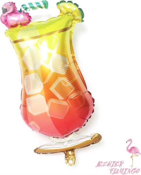 Folieballon Cocktail glas met Flamingo