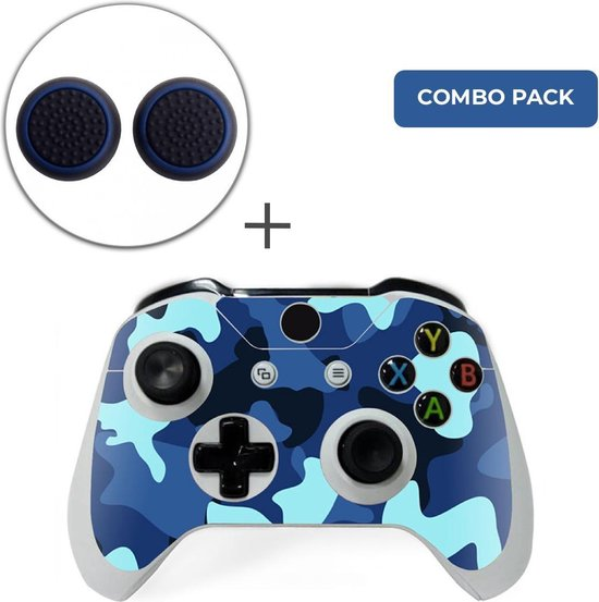Army Camo / Blauw Zwart Combo Pack – Xbox One Controller Skins Stickers + Thumb Grips