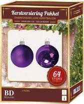 Kerstballen set 64-delig voor 120 cm boom - Paars tinten Kerstboomversiering