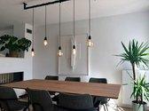 Industriële zwart stalen hanglamp 110 cm met 5 pendels