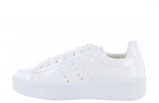 Bufflox | Chantal 213-b White Patent Rings Closing/satin Laces - Sole Maat: 41 koy1kk