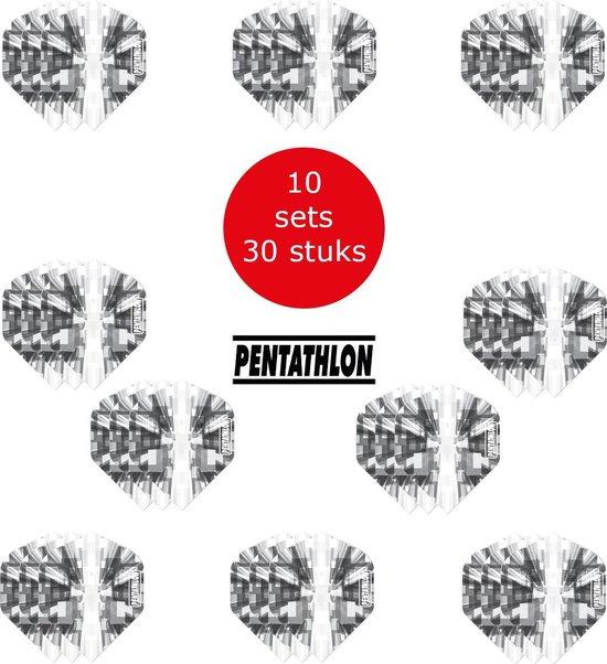Dragon Darts - 10 sets (30 stuks) Pentathlon Explosion - darts flights - super stevig - zwart - dartflights - dart flights