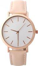 Fako® - Horloge - Rosé Goudkleurig - Ø 41mm - Beige