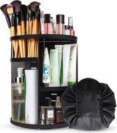 Aryos Draaiende Make-up organizer met Make-up Tasje - Zwart
