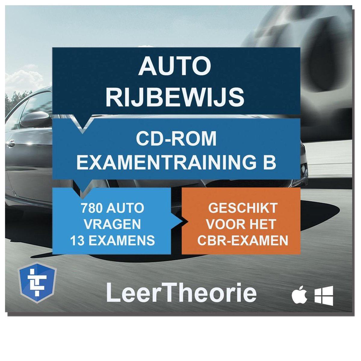 Auto Rijbewijs B - CD-ROM 2021 Auto Examentraining B - 845 oefenvragen - 13 Theorie Examens - Ontwor
