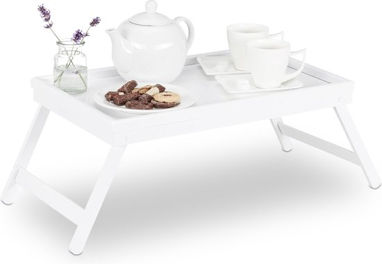 relaxdays bedtafel bamboe wit - dienbladtafel - dienblad op pootjes - klapbaar - op bed