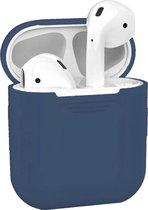 Siliconen Bescherm Hoesje Cover voor Apple AirPods 2 Case Blauw-Grijs