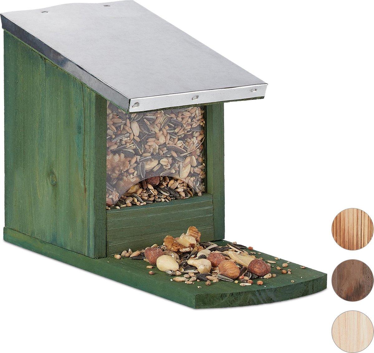 relaxdays eekhoorn voederhuisje - metalen dak - hout - voederhuis - voederkast donkergroen