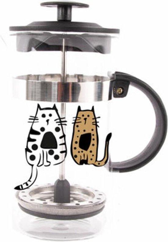 Biggdesign Katten in de Franse pers van Istanboel | Limited Edition Design | Roestvrij stalen kap | Borosilicaatglas | 350 ml | Functioneel, compact ontwerp voor koffieliefhebbers