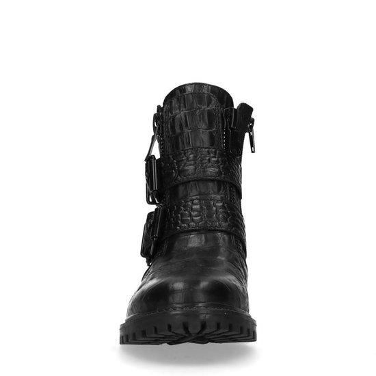 Sacha - Dames Zwarte Croco Print Enkellaarsjes Met Gesp Maat 40 dxhvcs