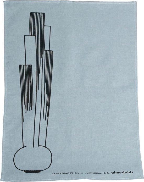 theedoek Picknick met ui patroon in zachtblauw