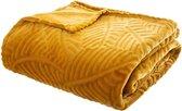 Fleece Plaid Leaves - 220 cm x 240 cm - Geel