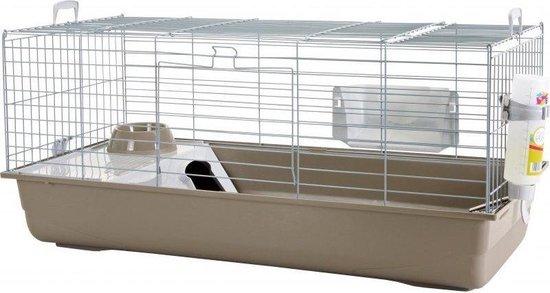 Nero 3 Deluxe - Konijnenkooi - Zilver/Grijs - 100x50x47 cm - Flamingo