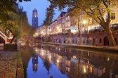 Schilderij - Utrecht skyline Domtoren , Multikleur , 3 maten , Wanddecoratie
