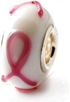 Pink Ribbon roze Murano glaskraal | Zilverana | geschikt voor Biagi , Pandora , Trollbeads armband | 925 zilveren kern