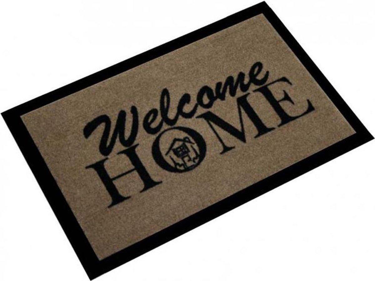 Deurmat welcome home 40x60cm Bruin Zwart Hanse Home - Hanse Home