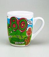 Verjaardag - Cartoon Mok - 80 Jaar - Gevuld met snoepmix - In cadeauverpakking met gekleurd lint